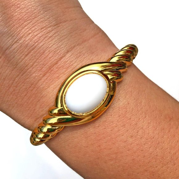 Gold Cable Bracelet with Milk Glass Cabochon